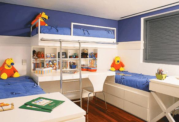 quarto infantil planejado com 3 camas