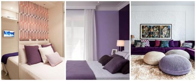 decoração monocromática em lilás e roxo