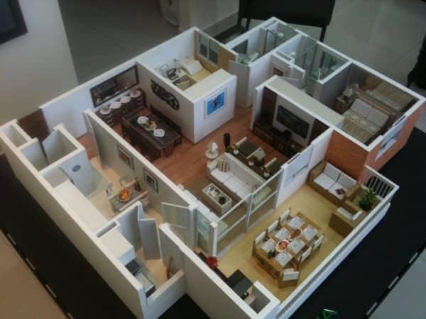 maquete de casa por dentro com móveis