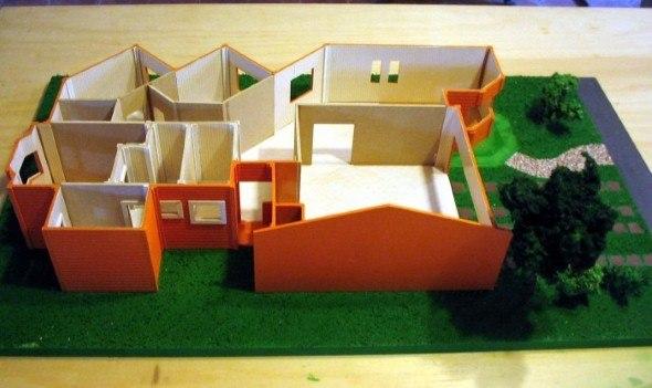 maquete de casa por dentro com divisões