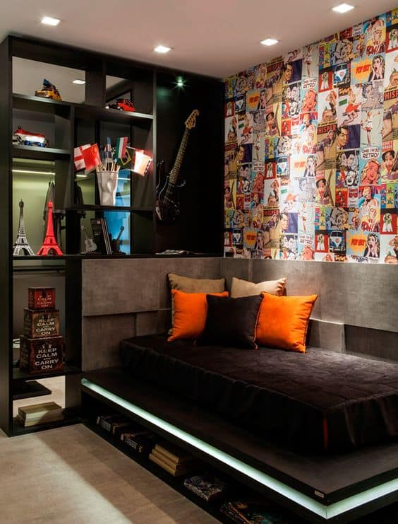 decoração quarto masculino preto