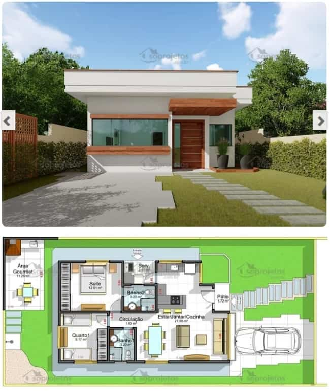 planta de casa com 2 quartos e 68 m²