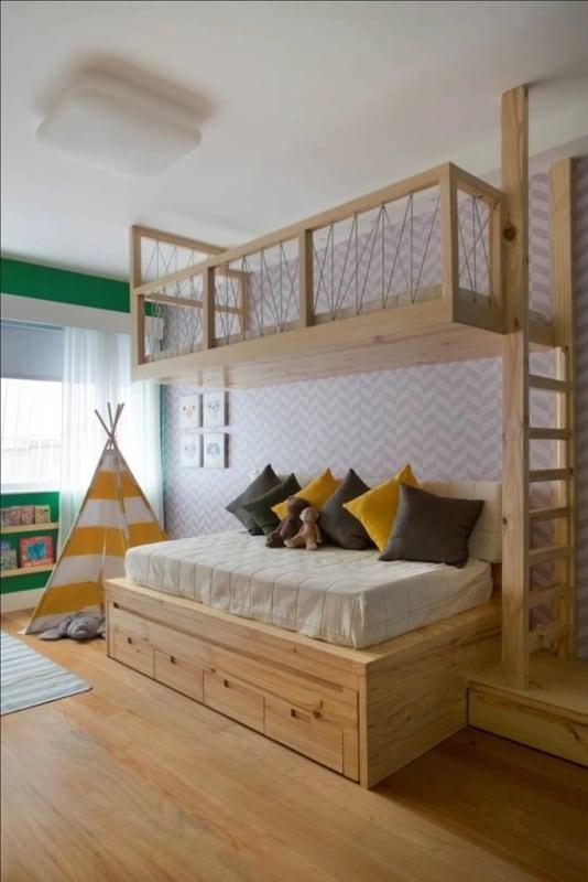 cama de madeira pinus com gavetas