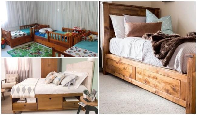cama em madeira com gavetas