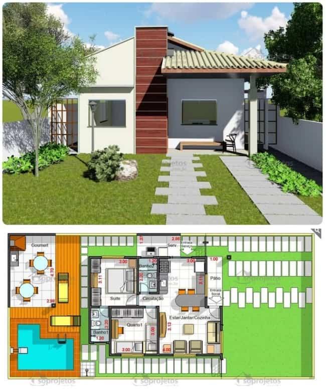 planta de casa de 60m² com 2 quartos e piscina