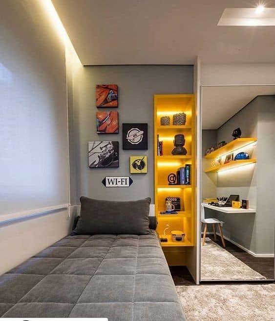 quarto masculino cinza e amarelo