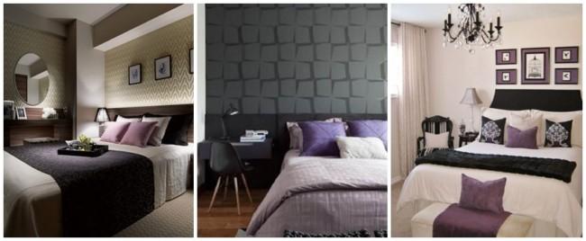 decoração em lilás e preto para quarto