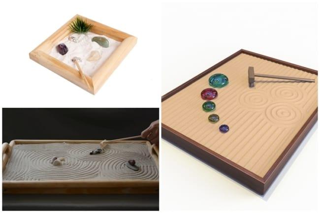 jardim zen em base de madeira