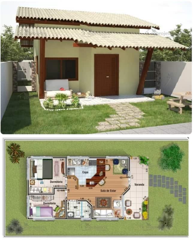 planta minha casa minha vida com varanda