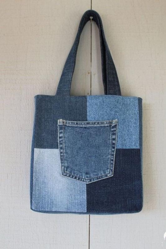 bolsa com retalhos de jeans