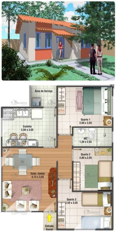 planta de casa simples com 3 quartos e 67 m²