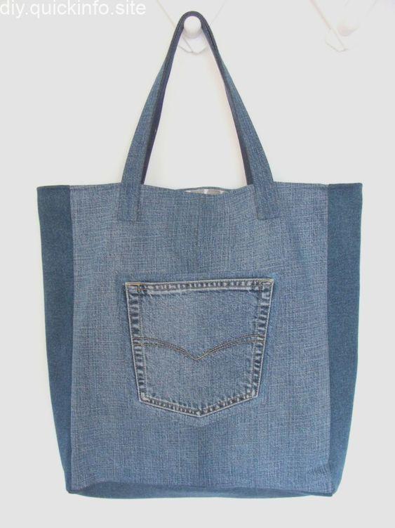 bolsa de tecido jeans com bolso