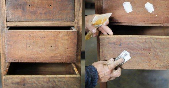 A massa ajuda a tapar as imperfeições da madeira