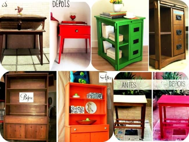 Antes e depois da pintura de móveis de madeira