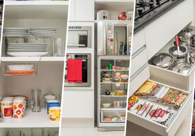 Arrumar armários gavetas e dispensa