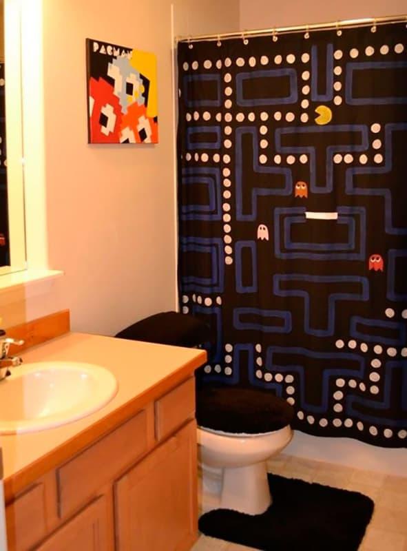 Banheiro divertido com estilo geek