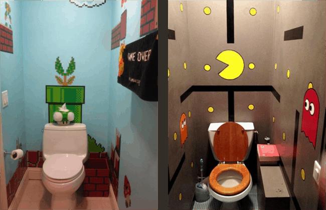 Banheiros com decoração de video game