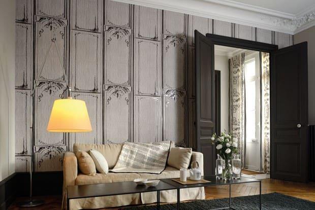 Boiserie com papel de parede classico