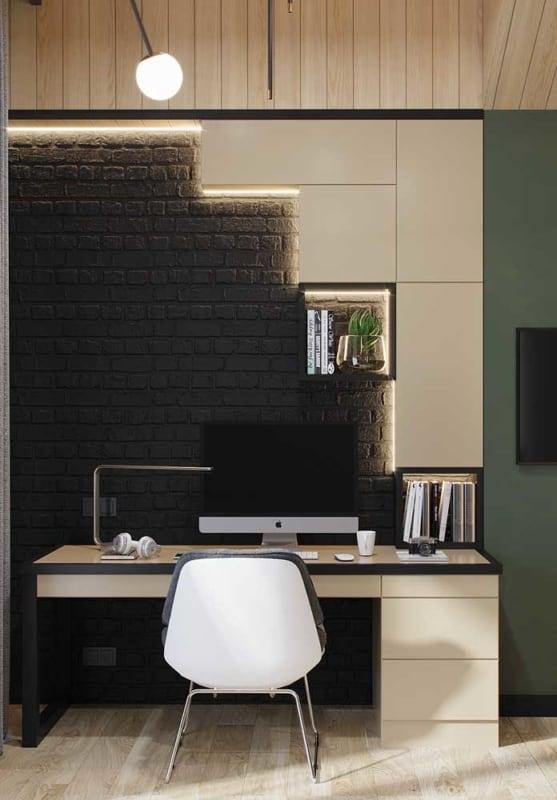 Casas de tijolo à vista pintadas de preto