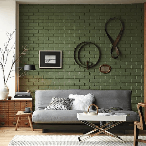 Casas de tijolo à vista pintadas verde