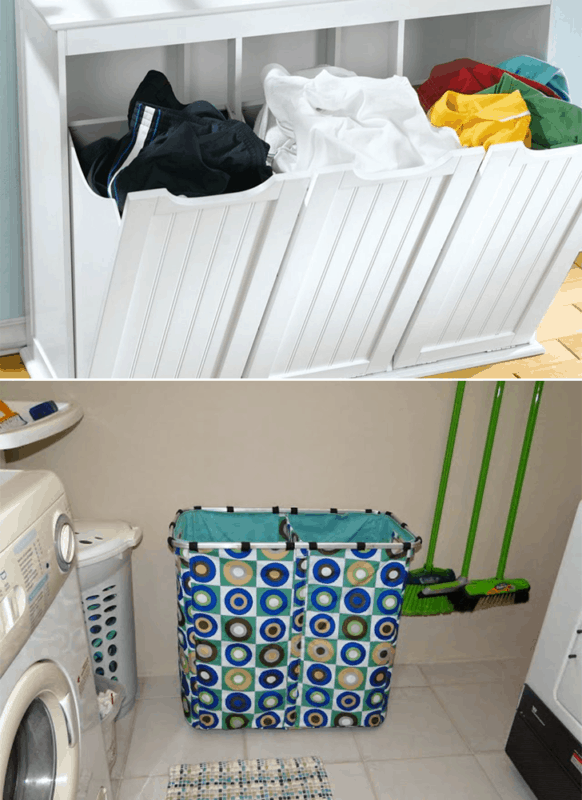 Cestos de roupa suja separados por cores