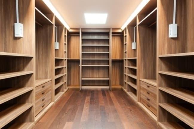 Closet grande para casal em madeira