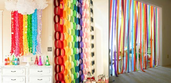 Cortina colorida de papel crepom para decoração de Carnaval47
