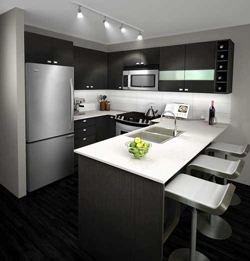 Cozinha americana planejada pequena com armários pretos