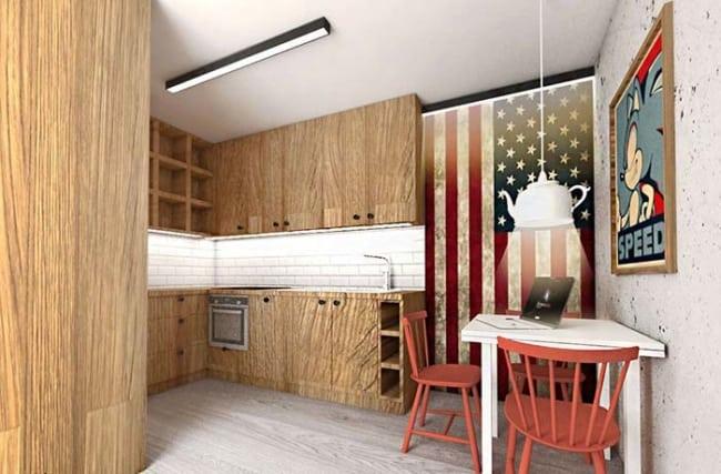 Cozinha minimalista com decor geek
