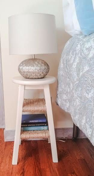 Criado-mudo estilo banquinho com prateleiras