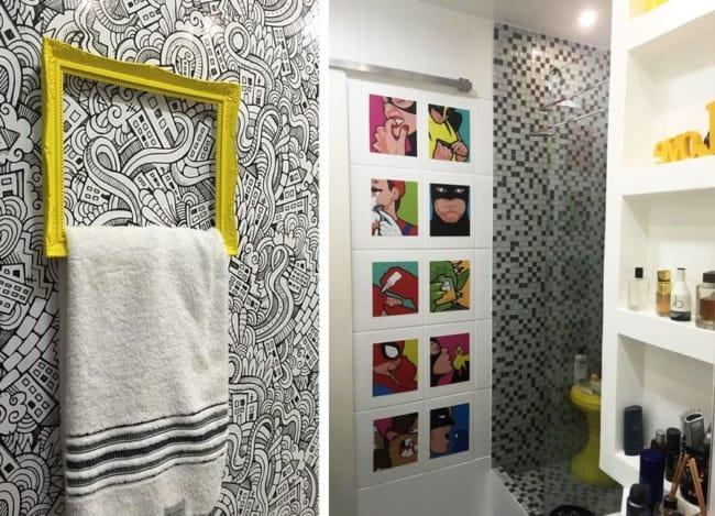Decoração criativa para banheiro geek