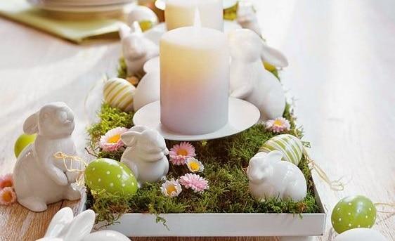 Decoração de páscoa com velas