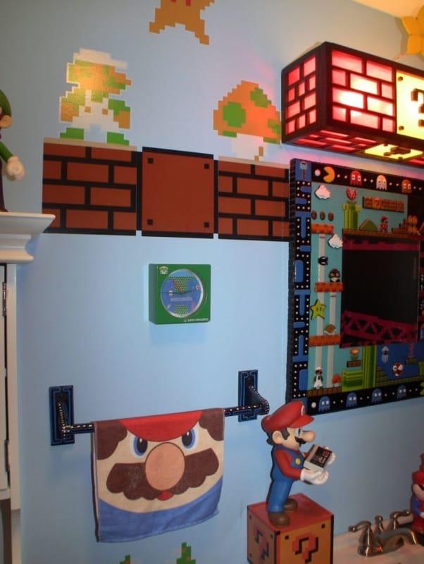 Decoração do Mario Bros no banheiro