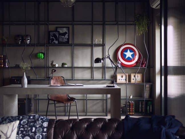 Decoração geek industrial para home office