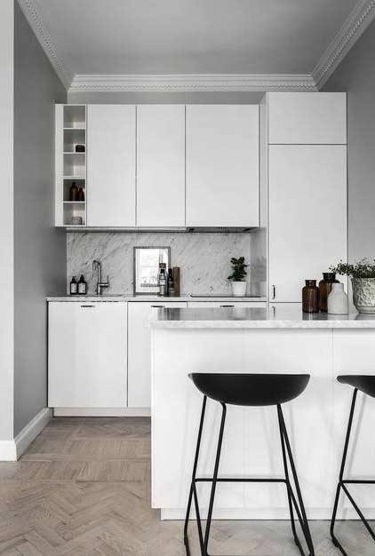 Decoração minimalista para cozinha pequena americana