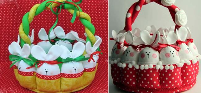 Duas cestas de coelhinhos de tecido
