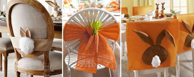 Enfeites para cadeiras na Páscoa de tecido