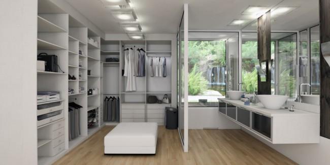 Espaço dividido para closet e banheiro