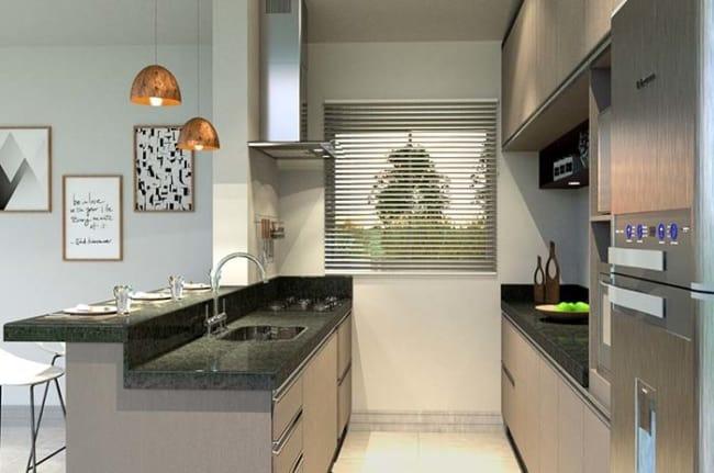 Granito Verde Ubatuba em cozinha moderna