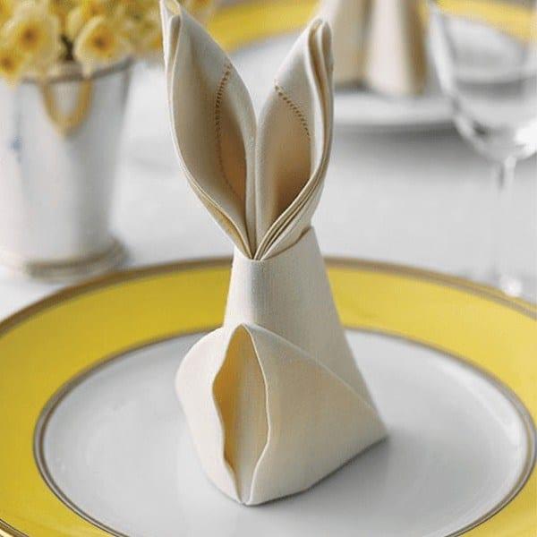 Guardanapos de tecido em forma de coelho