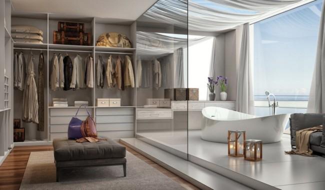 Ideia de closet moderno integrado com banheiro