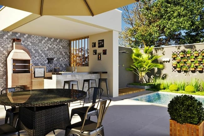Inspiração para decorar varanda gourmet com piscina