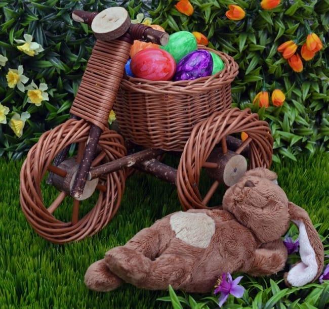Jardim decorado para a Páscoa