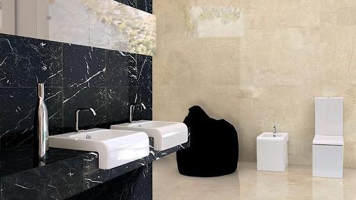 Mármore Preto no banheiro