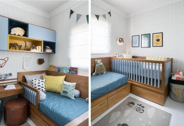 Móveis de madeira planejados para quarto de bebê