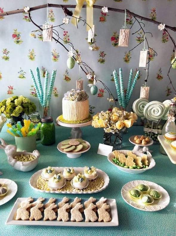 Mesa de doces na páscoa