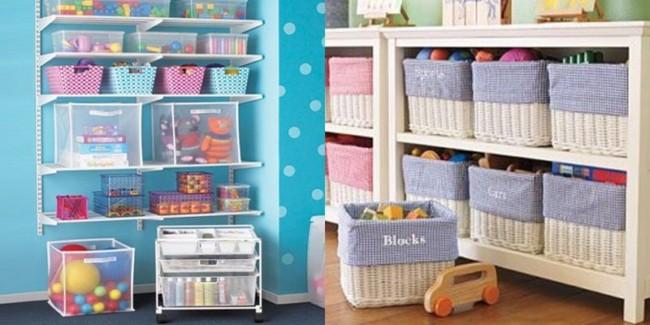 Organizadores de brinquedos em quarto de crianças