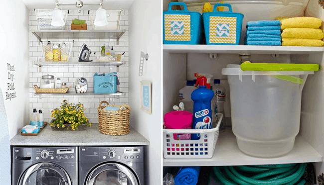 Organizar armários e prateleiras da lavanderia