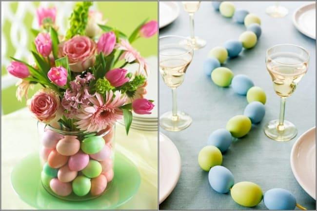 Ovos coloridos para mesa de páscoa