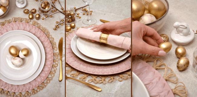 Ovos pequenos e dourados para mesa posta